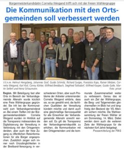 Bürgermeisterkandidatin Cornelia Weigand trifft sich mit Freie Wählergruppe Altenahr