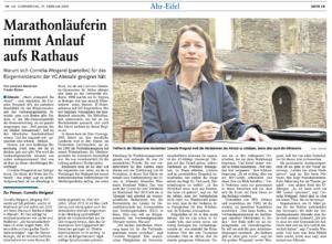 Portrait von Bürgermeisterkandidatin Cornelia Weigand in der Rhein-Zeitung